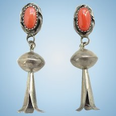 Old Native American Coral Squash Blossom Pierced Earrings Sterling Silver