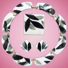 Vintage Kay Denning Modernist Set Enamel Copper Necklace Brooch Earrings Black White Gray Signed