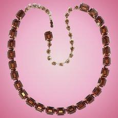 Vintage 1960s Weiss Sparkling Topaz Rhinestone Choker Necklace Book Piece Signed