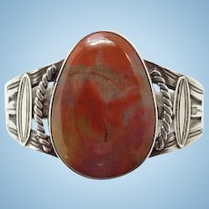 Fred Harvey Era Native American Petrified Wood and Sterling Cuff Bracelet Pounded Silver