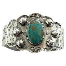 Fred Harvey Era Native American Turquoise Cuff Bracelet Signed Sterling Thunderbird Stamp Decoration