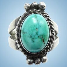 Vintage Native American Sterling Silver Turquoise Ring Size 6.25 Hallmarked SS