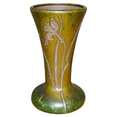 Heintz Art Metal Shop Trumpet Vase Sterling Silver Overlay on Bronze Arts and Crafts