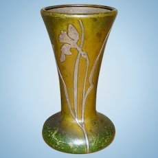 Heintz Art Metal Shop Trumpet Vase Sterling Silver Overlay on Bronze Arts and Crafts