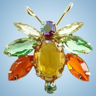 Juliana 1960s Insect Bug Rhinestone Pin Brooch Amber Orange Blue Clear Red DeLizza and Elster D and E