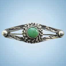 Vintage Navajo Fred Harvey Small Turquoise Pin Brooch Arrow Stamp Decoration Sterling Silver