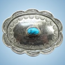 Vintage Southwestern Oval Turquoise Concho Pin in Sterling Silver