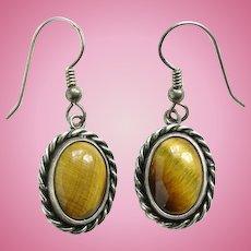 Vintage Southwestern Tiger's Eye Pierced Earrings Sterling Silver Drop Dangle