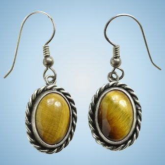 Vintage Southwestern Tiger's Eye Pierced Earrings Sterling Silver Drop Dangle