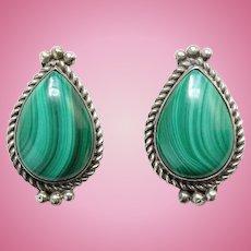 Vintage Southwestern Green Malachite Sterling Silver Pierced Earrings Hallmarked