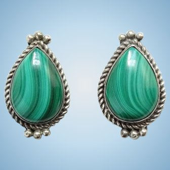 Vintage Southwestern Green Malachite Sterling Silver Pierced Earrings Hallmarked