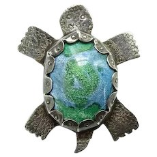 Vintage Southwestern Sterling Silver Turtle Pendant with Gemstone