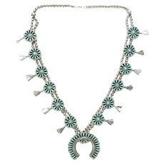 Native American Zuni Petit Point Turquoise Squash Blossom Necklace Perfect Smaller Size