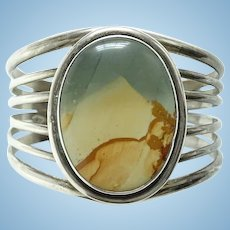Native American Landscape Picture Jasper Sterling Cuff Bracelet 56 Grams