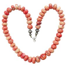 Navajo Native American Graduated Natural Coral Bead Necklace Sterling Silver C1960s