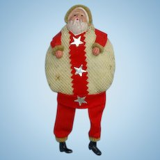 Vintage Japan Santa Claus Christmas Candy Container Net Bag Body Celluloid Face 8 Inch