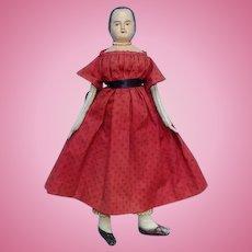 1989 Reproduction Izannah Walker Artist Doll Roy + Carole Brindamour W #7 Marblehead Made 14 1/2 Inch Cloth doll