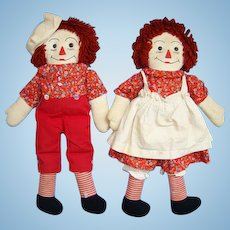Vintage Raggedy Ann and Andy Doll Pair in Red Calico Yarn Hair Handmade