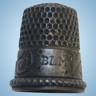 Victorian Sterling Silver Thimble Initials BLM Size 7 Embossed Decoration Tarnished