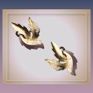 Elegant Trifari Earrings - Vintage Clipons Goldtone Leaf Motif