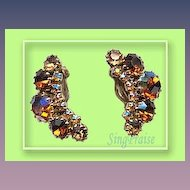 Big and Sparkly Weiss Signed Earrings - Vintage Attention Grabber!!