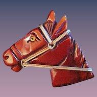 Mint Bakelite Horse Head Brooch - Just Lovely!