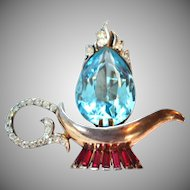 Magical Coro Craft ALADDIN'S LAMP Pin Brooch Sterling 1940s
