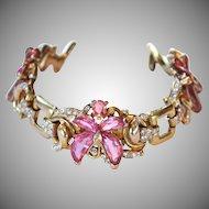 Extremely RARE Trifari PINK Demi Lune Floral Bracelet