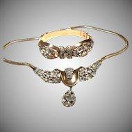 SPARKLING Trifari Clear Bracelet & Drop Necklace JEWELED SYMPHONY Multi-shape