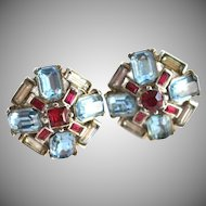 GORGEOUS Aqua Blue and Ruby-red Clip Earrings TRIFARI