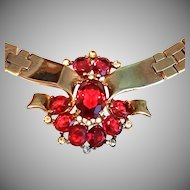 BRILLIANT Trifari RED Tesselated Necklace Transparent Stones Open Back