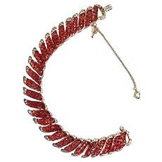 Gorgeous RED Invisibly Set Molded Glass Bracelet RARE Goldtone Plating