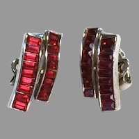 "Trifari Invisibly Set RED Baguette ""Waves"" Earrings"