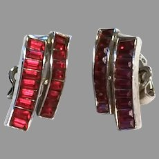 """Trifari Invisibly Set RED Baguette """"Waves"""" Earrings"""