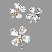 TRIFARI Clear Four Leaf Clover Pin & Earrings