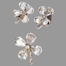BRILLIANT Trifari Shamrock CLOVER Pin Set & Clip Earrings Silver-tone Sparkling