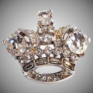 TINY Clear Crown Trifari Brooch Pin