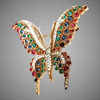Trifari Multicolor Rhinestone Tallwing BUTTERFLY Pin & Sparkling Clear Accents