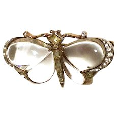 Trifari Butterfly Jelly Belly Lucite Brooch Pin 1949 Clear