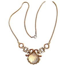 "EXTRAORDINARY Trifari ""Moonshell"" Phillipe Necklace Jelly Belly"