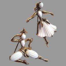 Delicate Pair TRIFARI Philippe Beau Belles Male & Female Dancers 1953 Ballet Philippe