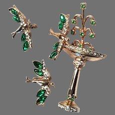 1946 Coro Bird at Fountain Pin & Screwpost Earrings Set