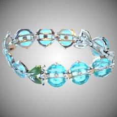 RARE & Excellent Trifari Bracelet AQUA Blue DEMI LUNE Stones Green Enamel Linked