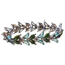 Floral TRIFARI Aqua Blue Demilune & Enamel Bracelet Silver-color setting