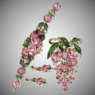 Spectacular Trifari PINK Unfoiled Demilune & Enamel Bracelet Brooch & Earrings 1942-ULTRA Rare TOP OF THE LINE PIECES