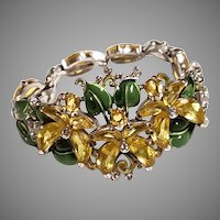 FLORAL ULTRA Rare Trifari YELLLOW FuschiaFlower Demilune & Enamel Bracelet 1942