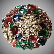 INTRICATE Trifari Domed Multishape Stones Red, Blue Green Fur Clip Brooch Pin