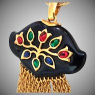 DYNAMIC Trifari Necklace Black Persian Gardens Thermoset Inset Jewels India Red Green Blue Cabochons