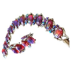 Vivid CORO Bracelet & Pin Red & Aurora Ribbed Melon Carved Stones
