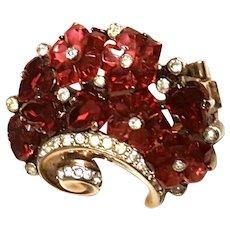 Crown Trifari RED Carved Glass Flowers Fur Clip/Brooch